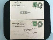 1921 PHILIPPINES ECHAGUE ISABELA & ODOINGAN ROMBLON CDS TO CALIFORNIA USA SCARCE