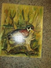 1975 Oil Painting of Bird Duck On Water Color Board signed Martin