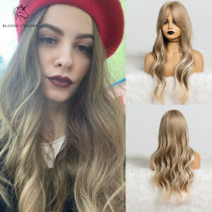 Long Ombre Light Blonde Wavy Wigs with Bangs Cosplay Synthetic Wig for Women