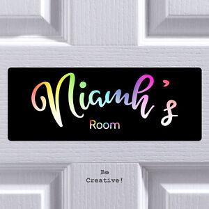 Personalised Rainbow Text Bedroom Door Plaque Custom Sign Boys Girls Room Gift