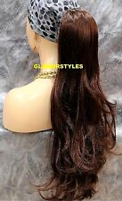 Dark Auburn Long Layered Wavy Ponytail Hair Piece Extension Drawstring Combs #33