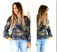 Topshop Navy Floral Frilly Ruffles Blouse Sheer Bug Print Floaty Boho Top 10