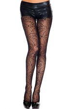 BEAUTIFUL BLACK SPIDERWEB LACE TIGHTS SCENE GOTH BURLESQUE WEB TATTOO LEG AVENUE