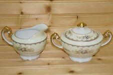 "Meito Bristol Creamer, 2 7/8"" & Sugar Bowl, 3"" with Lid"