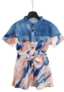 Kids Girls Collared Tie & Dye  Outfit Playsuits Jumpsuits Romper Summer Shirt UK