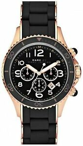 NEW MARC JACOBS MBM2553 LADIES BLACK AND ROSE GOLD ROCK WATCH - 2 YEAR WARRANTY