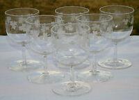 Bohème? Service de 6 verres en cristal gravé. XIXe s. H. 8,5 cm