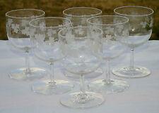 Bohème? Service de 6 verres en cristal gravé. XIXe s. H. 10,5 cm