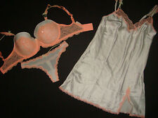 Victoria's Secret BRA SET+SLIP 34DDD/M White Orange peach Sequined DREAM ANGELS