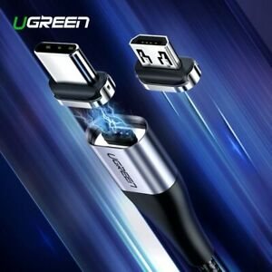 Ugreen Magnetic Reversible Type C Micro USB Cable 3A Fast Charging Data Sync 1m