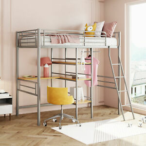 Twin Metal Loft Bed with Desk Shelves and Hanging Rod Young Children Loft Bed