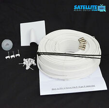50m White SKY Plus HD Twin Shotgun Satellite Cable & TV coax cable extension Kit