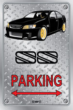 Parking Sign - Metal - BROCK HDT VH RETRO SS VE BLACK GOLD RIMS - CHECKER LOOK