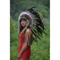 Small Monte Black Feather Indian Native American Headdress Warbonnet Apache