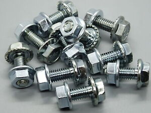 20 Pieces Hexagonal Screws M6 x16 With Nut Gear Flange For Car
