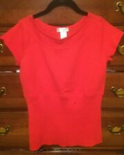 New Kim Rogers Red Cap Sleeve Sweater Small