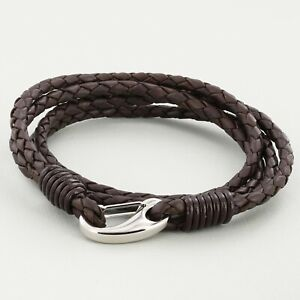 Brown 4 strand real Leather Braided Wristband Bracelet Stainless Steel Clasp 3mm