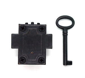 Reversible Lock & Key Set with Black Finish and Fittings. Antique Vintage Style