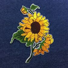 SUNFLOWER 14cm x 10.5cm Bunch of Sunflowers Embroidered Patch - Iron-on / Sew-on