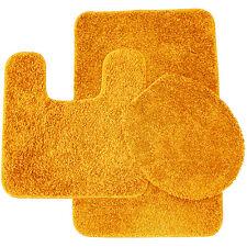 Layla 3 Piece Shag Bathroom Rug set- Bath mat, Contour and Seat Cover Orange