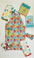 Tiki Bar Flower Parrot Kitchen BBQ Apron Towel Oven Mitt Gift Set 7 Mom Tropical