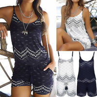 Womens Holiday Strap Mini Playsuit Ladies Summer Shorts Jumpsuit Beach Dress AB