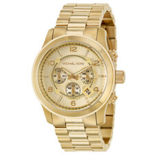 New Authentic Michael Kors Runway Oversized Gold-Tone Men's Wrist Watch MK8077