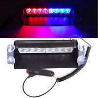 Auto Rot/Blau 8 LED Polizei Strobe Blitzlicht Notfall Warnung Blinklicht Sicher
