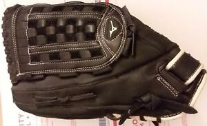 "Mizuno Black Pro Model Leather 14"" Baseball Mity GPM1400 LeftHandThrow VG+ fr/sh"