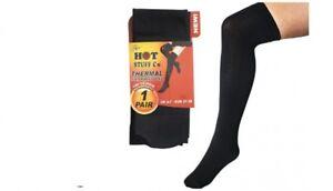 3 Pairs Ladies Thermal Brushed Heatguard Knee High,Over The Knee Socks Black 4-7