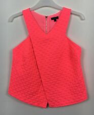 River Island Neon Pink Textured Sleeveless Wrap Look Top Size 8n- B23