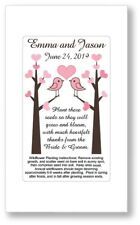 50 Love Birds Heart Wedding Bridal Shower Favors Seed Packets Personalized Pink
