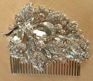 Chohan NEW Asian Costume Jewellery Faux Diamond & Silver Hair Comb Hair Slide