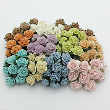 100 Mixed Mulberry Paper Flowers Wedding Headpiece Scrapbook Card Roses R8-426
