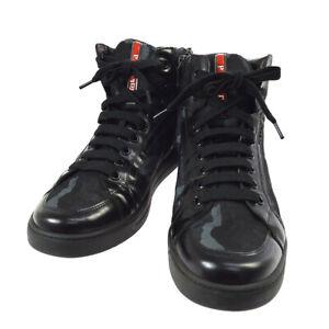 PRADA Sport Sneakers String Shoes Black Nylon Italy #8 1/2 4T2723 02028