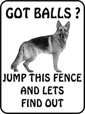#14 German Shepherd Got Balls Jump This Fence Pet Dog Sign