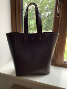The Box Bag Co, large brown leather tote, super thick structure, bucket bag