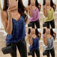 Women Sequin Vest Bling Spaghetti Strap Shirt Ladies Glitter Camisole Tank Tops