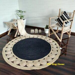 Rug 100% Natural Jute Reversible Round Area Floor Carpet Home Decor Rag Rugs