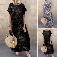 ZANZEA Women Summer Short Sleeve Loose Long Maxi Dress Retro Kaftan Shirt Dress