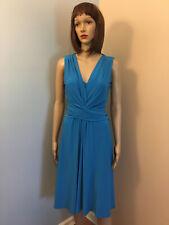 RALPH LAUREN CHAPS M 8-10 Blue Jersey Surplice DRAPED SHEATH DRESS Sleeveless