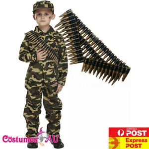 Boys Army Military Costume Child Camouflage Soldier Book Week Halloween Uniform