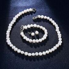 Set Süßwasserzucht Perlen Kette + Armband + Ohrringe barock weiß