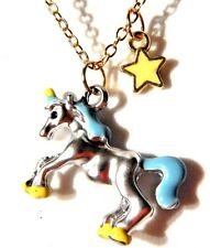 DAINTY UNICORN NECKLACE kawaii pastel enamel gold silver horse kitschy charm P2
