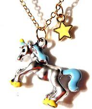 DAINTY UNICORN NECKLACE kawaii pastel enamel gold silver horse kitschy charm P2