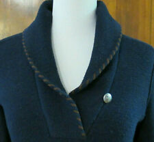 Ralph LAUREN Jeans Navy BLUE SHAWL Faux SUEDE Elbow PATCH SWEATER Dress Womens M