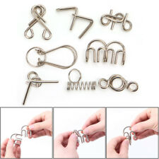 8Pcs Metal Wire Puzzle Game IQ Mind Test Brain Teaser Toys for Kids Adults Gift