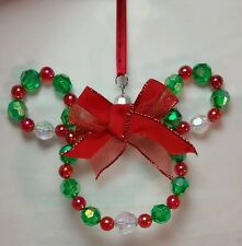 """Disney Parks Mickey Mouse Beaded Ornament Christmas Holiday Red Green Beads 6"""""""