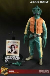 """MIB Exclusive GREEDO 1/6 12"""" STAR WARS Sideshow ANH w/ Han Solo Wanted Poster"""