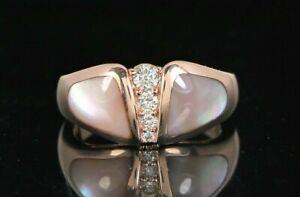 $3,250 Kabana 14K Rose Gold Diamond Pink Mother Of Pearl Inlay Cocktail Ring
